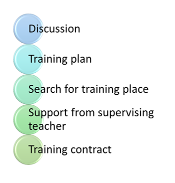 Bullet points for before practical training